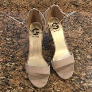 Guess suede four inch heels - 9 - tan